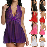 Women Sexy Lingerie G-String Halter Babydoll Bowknot Chemise Night Underwear
