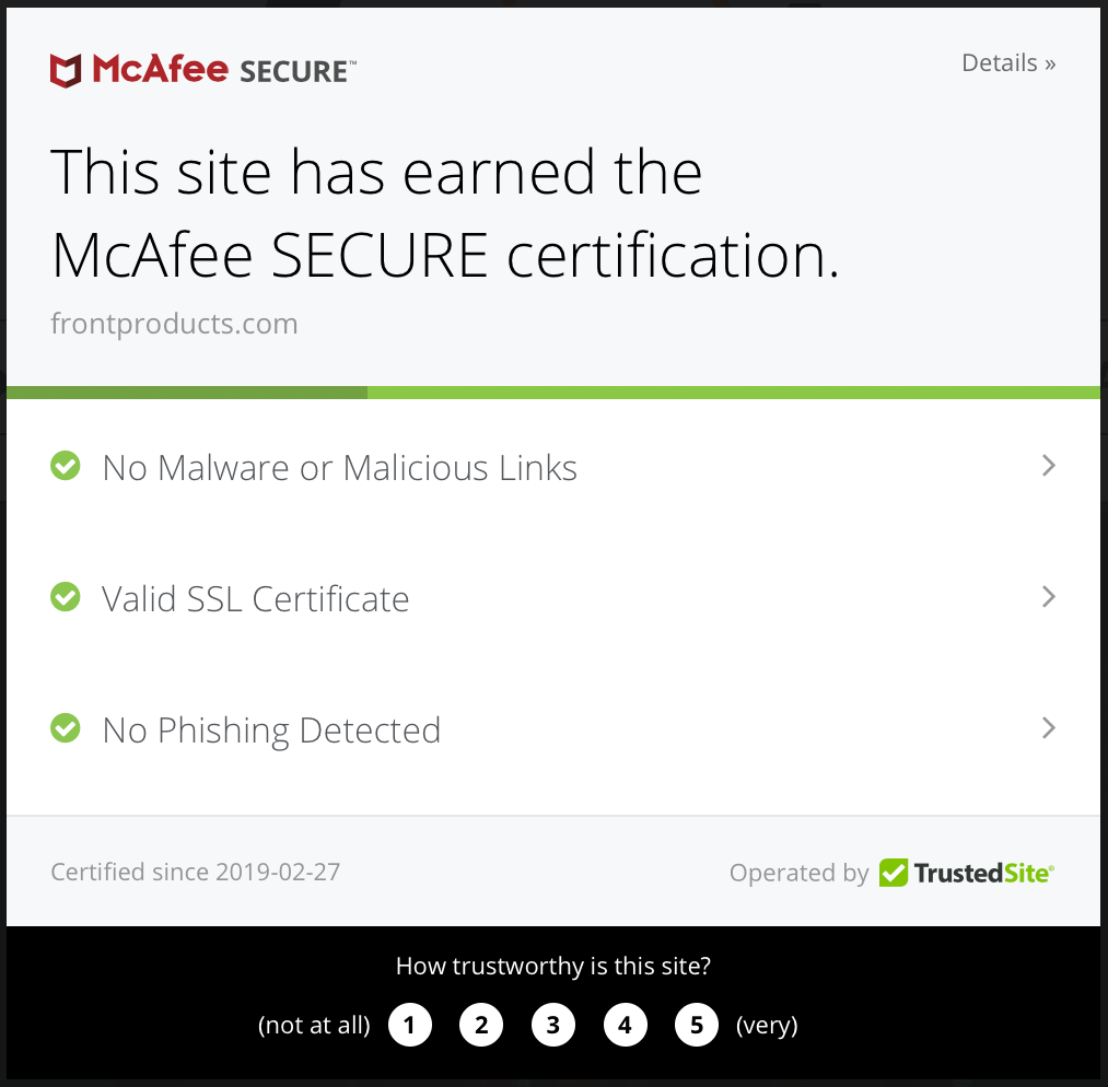McAfee SECURE certification-Front Products