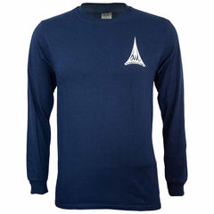 owl surfboards navy long sleeve shirt front