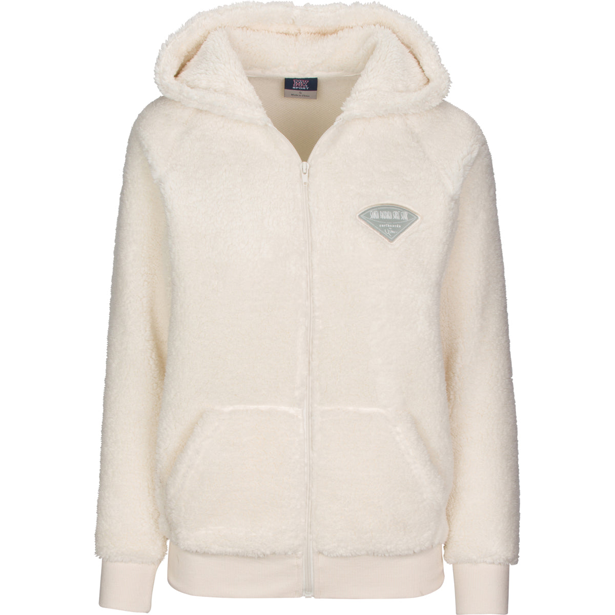 Women's Sherpa Full Zip Hoodie with Santa Barbara Surf Shop Logo Patch