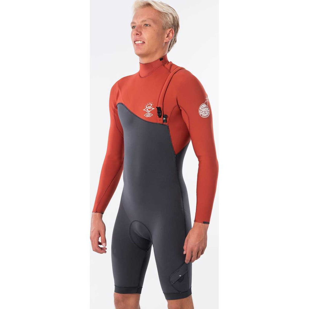 E-Bomb Long Sleeve Zip Free Springsuit Wetsuit in Terracotta