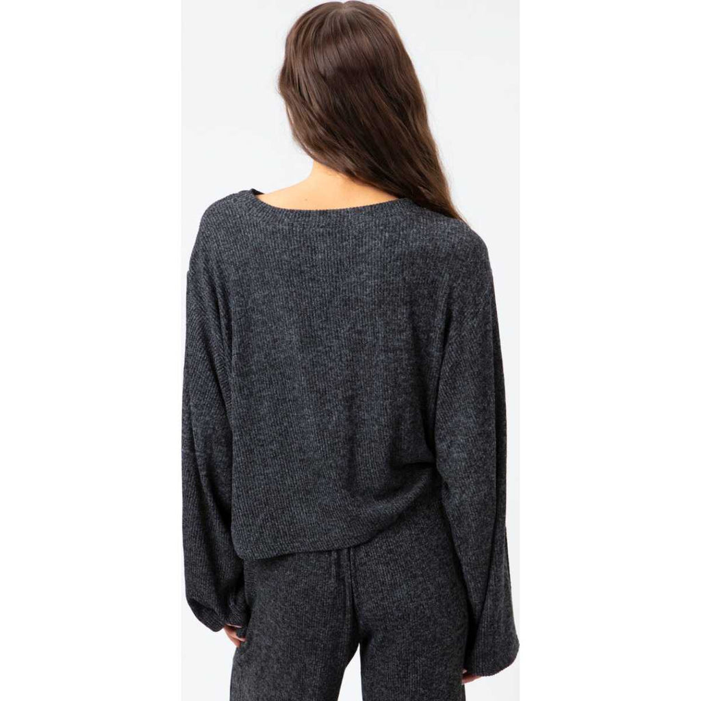 Cozy Crop Crew Neck Fleece in Black