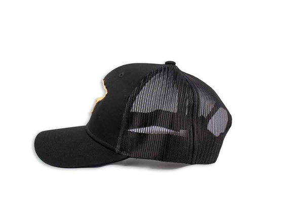 All Black Santa Barbara Surf Shop Snapback Trucker Hat - Midnight Edition