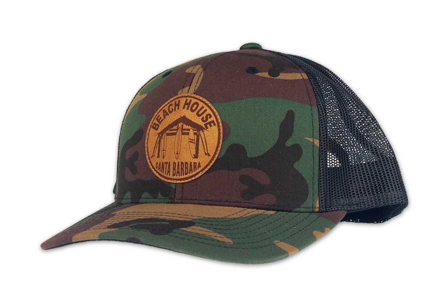 Beach House Hut Logo Snapback Hats With Faux Leather Patch - Surf N' Wear Beach House Online