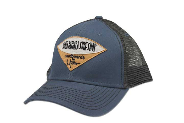 Santa Barbara Surf Shop Trucker Hat Steel Blue with Grey Mesh - Surf N' Wear Beach House Online
