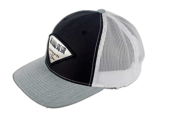Santa Barbara Surf Shop  Trucker Hat With Silver Metallic Embroidered Logo - Surf N' Wear Beach House Online