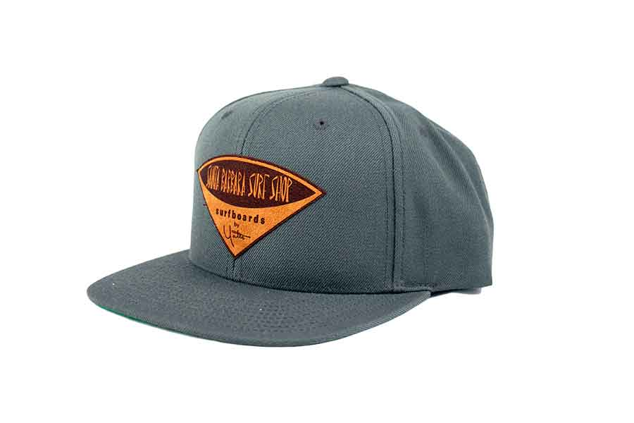 Snapback Hat with Santa Barbara Surf Shop Faux Leather Patch