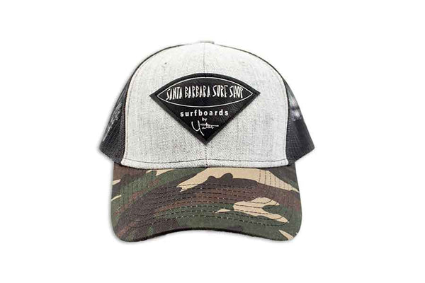 Camo Trucker Hats w/ SB Surf Shop Patch