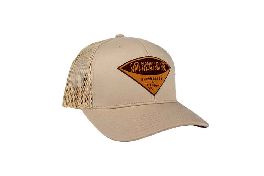 Retro Trucker Hat with Santa Barbara Surf Shop Faux Leather Patch