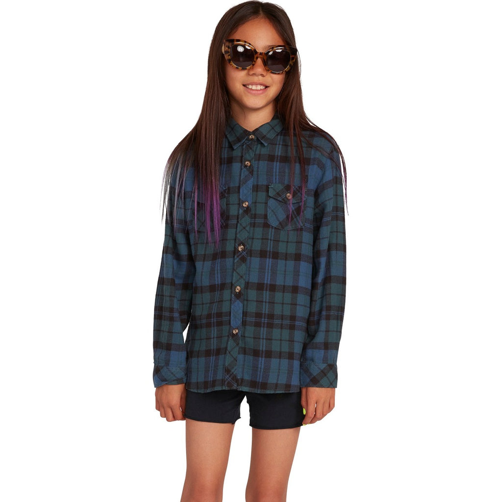 BIG GIRLS GETTING RAD PLAID LONG SLEEVE - EMERALD GREEN - Surf N' Wear Beach House Online