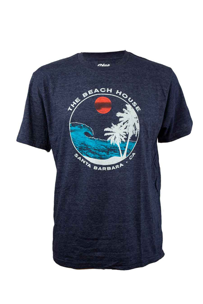 Beach House Short Sleeve Shirt with Vintage Paradise Palm Tree Logo on Premium Blue Cotton