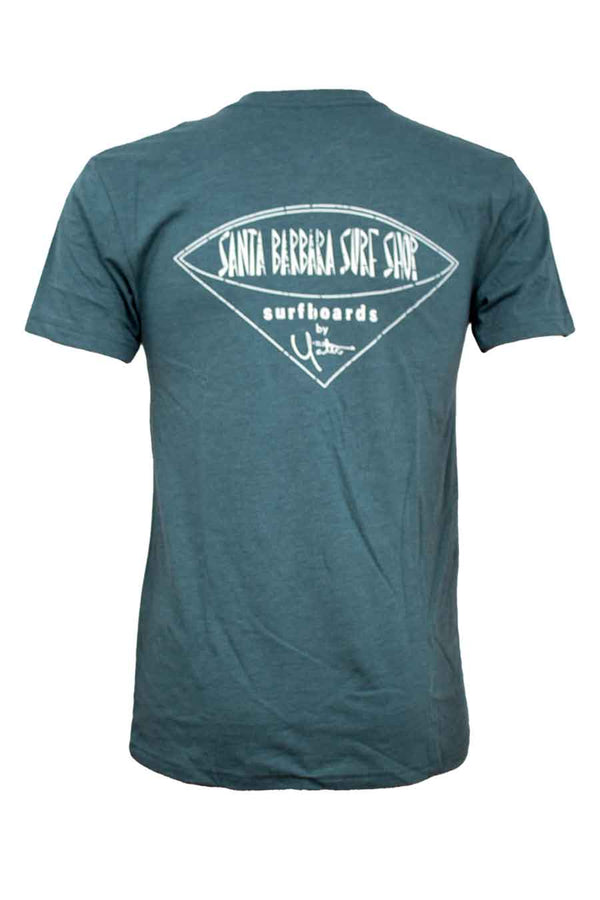 Short Sleeve T-Shirt One-Color Distressed Santa Barbara Surf Shop Logo - Surf N' Wear Beach House Online