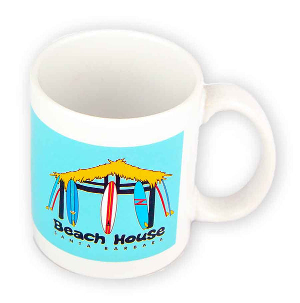 Beach House Surf Hut Logo Glossy Ceramic Coffee Mug