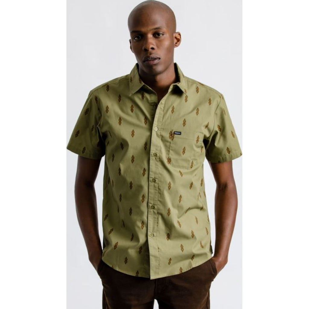 Charter Print S/S Woven - Washed Olive