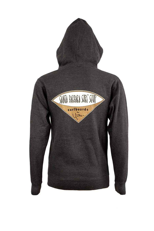 Zip-up Hoodie Sweatshirt with Santa Barbara Surf Shop Logo - Surf N' Wear Beach House Online