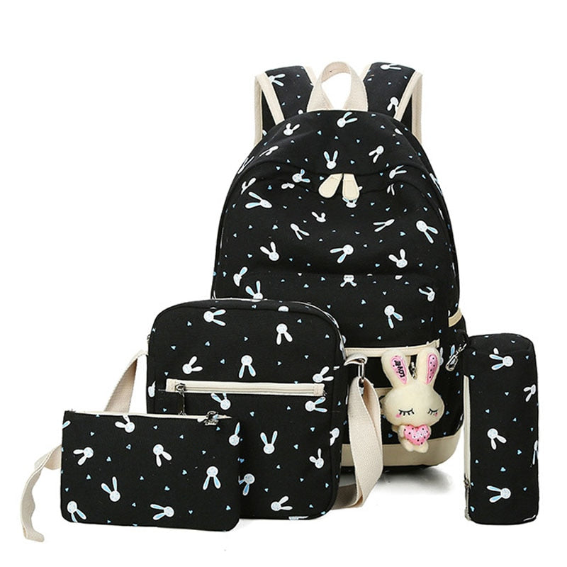 1deebe9d93a6 4Pcs/Sets Women Backpacks Cartoon Rabbit Printing School Backpack Canvas  Schoolbags for Teenage Cute Girls