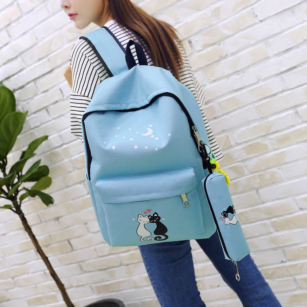 Brand 4Pcs set Canvas Women Backpacks Shoolbags Printing Cute Cat School  Bags Backpacks For Teenager 13907377d9b21