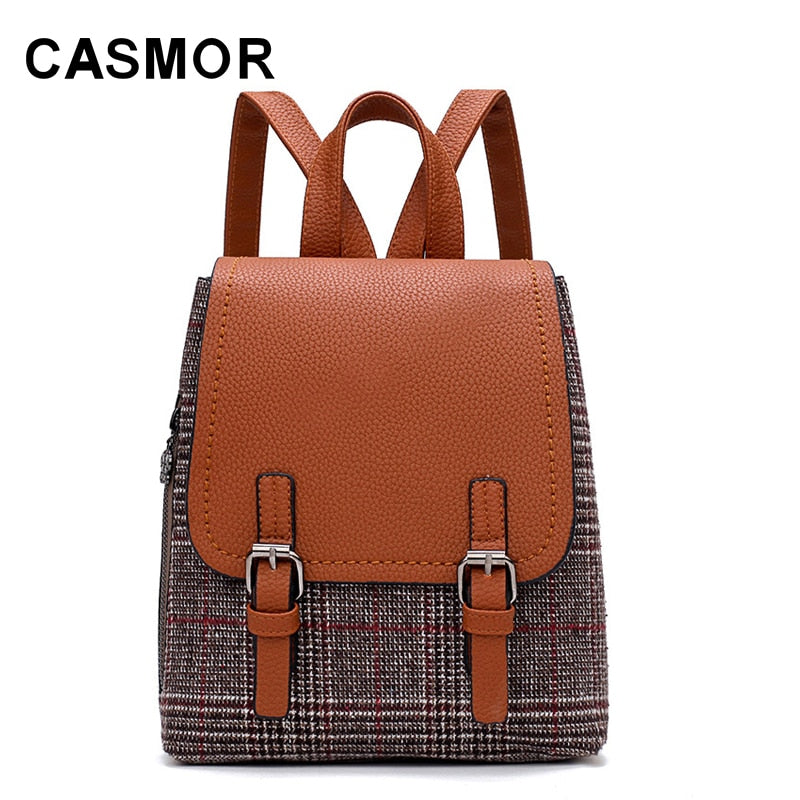 18fcaa8db6 Vintage Women Backpack PU Leather Plaid Panelled Backpacks For Teenage  Casual Female Girl School bag High
