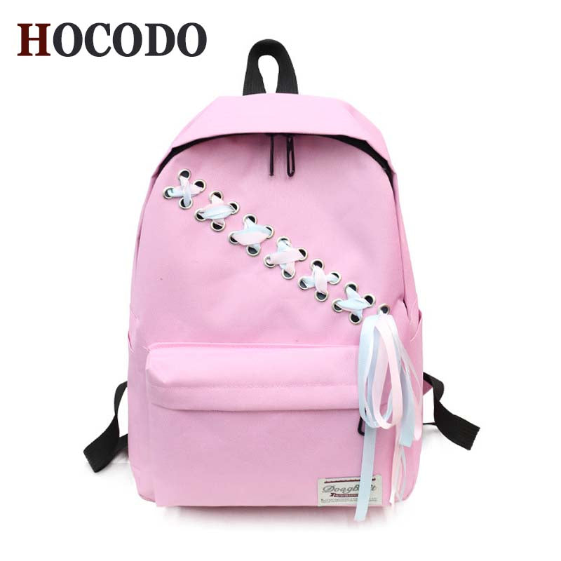 7aeb9df0c10d New Casual Schoolbag 2018 Backpack Female Fashion Tie Backpack Korean  Student College Wind Canvas Backpack Waterproof