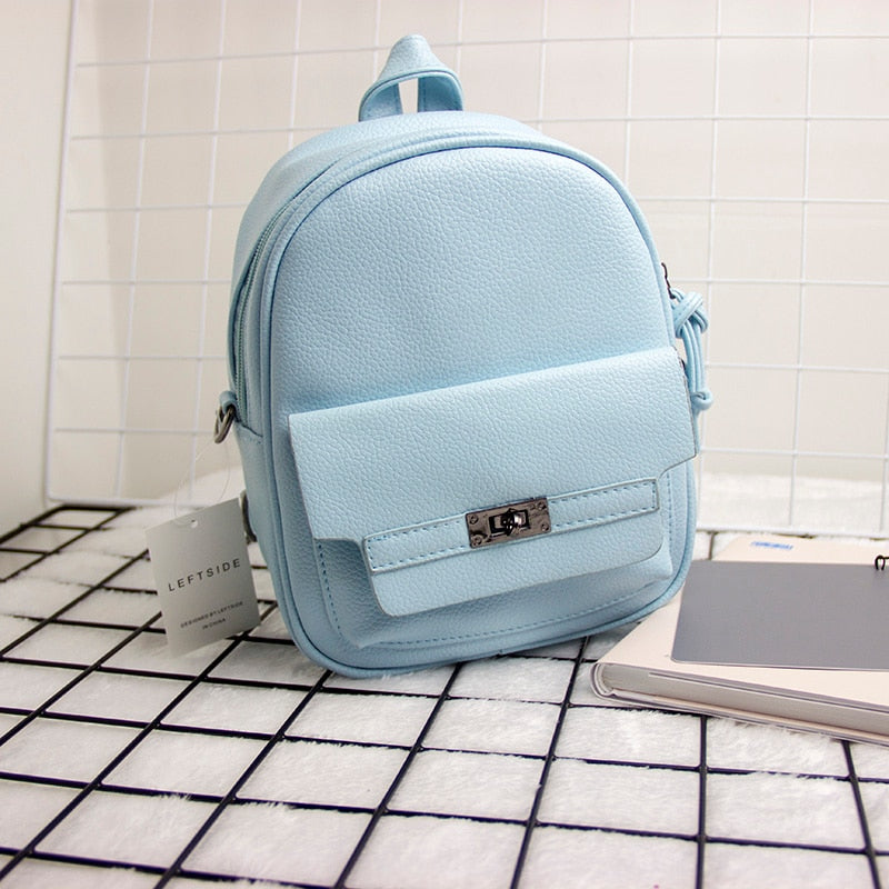 d24aac88b4 Back Pack Women PU Leather Backpack For School Teens Girls Bags Cool Small  Bag Pack Women