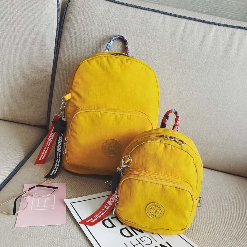 Unisex Kid's Mini Backpack Fashion Little Girl Travel Bags Letter Ribbons  Yellow Boy Cute Rucksack New Waterproof Small Backpack