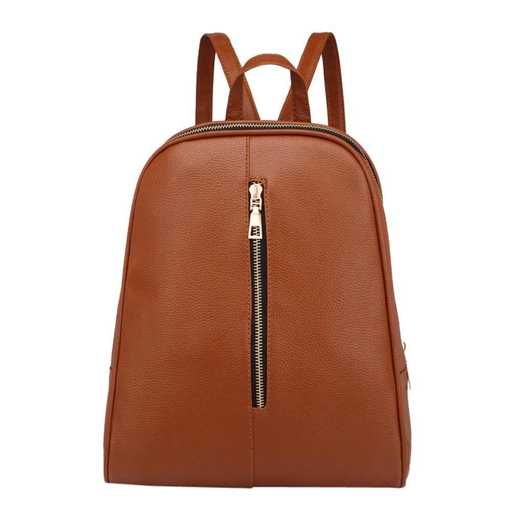 395666ffbf Woman Fashion Leather Backpack Female Preppy Style Zipper Mochila School  Bag Simple Style Backpack Travel Backpacks