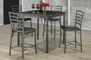 "TST-1001 ST-1004 | 38""L Gun Metal w/ Marble Top Pub Set"