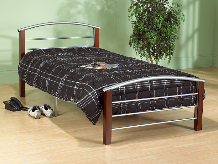 QFIF-127 | Silver Metal and Dark Cherry Post Bed