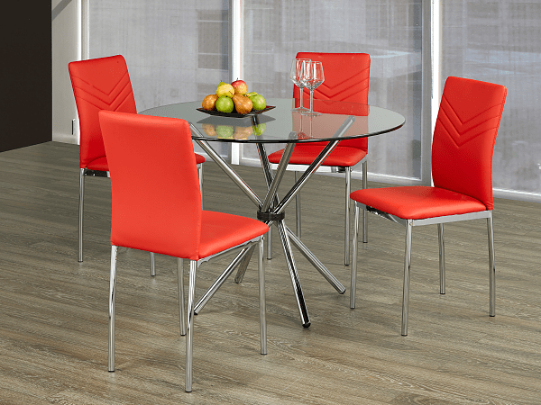 "TST-1430 TSC-1472 | 41""L Tempered Clear Glass Table Dining Set"