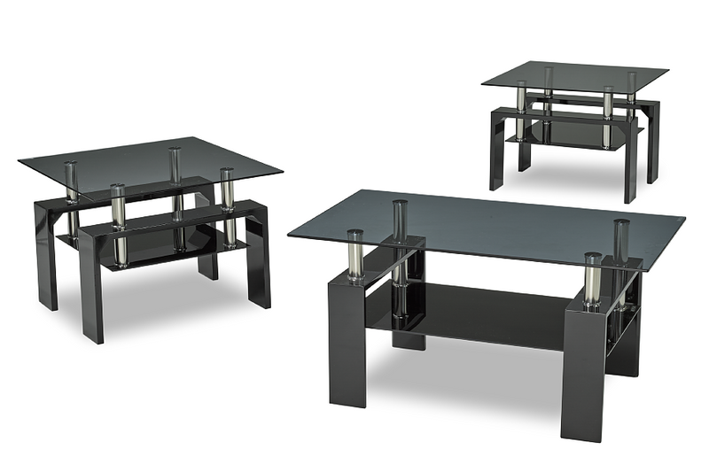 QFIF-2011 | Tempered Glass with Glossy Black Coffee Table Set