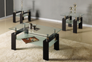 QFIF-2048 | Tempered Glass with Black Coffee Table Set