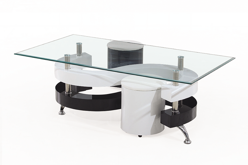 QFIF-2055 | White High Gloss Coffee Table Set With 2 Stools