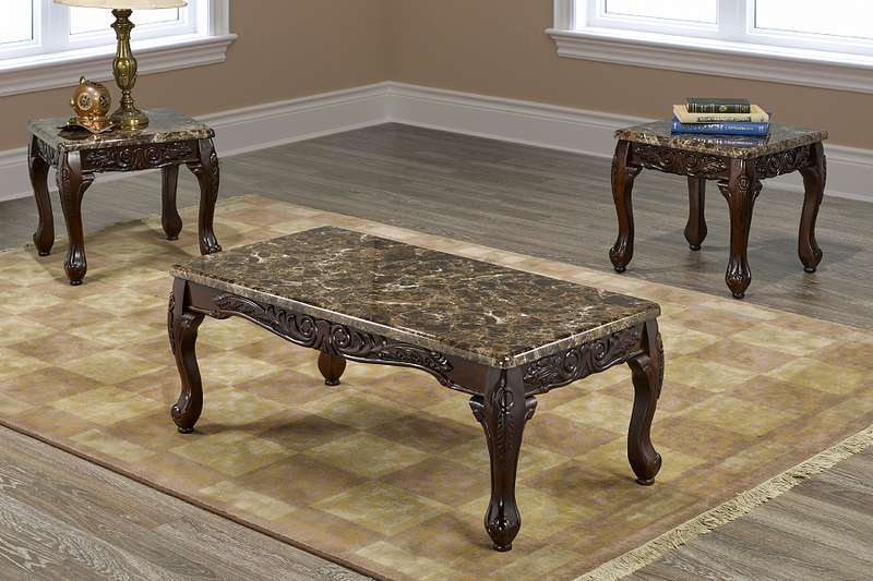 QFIF-2071 | Espresso with Dark Brown Marble Coffee Table Set