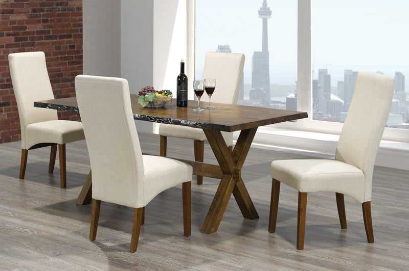 QFTT-T3038/240 | Beige High Gloss Table Top Dining Set