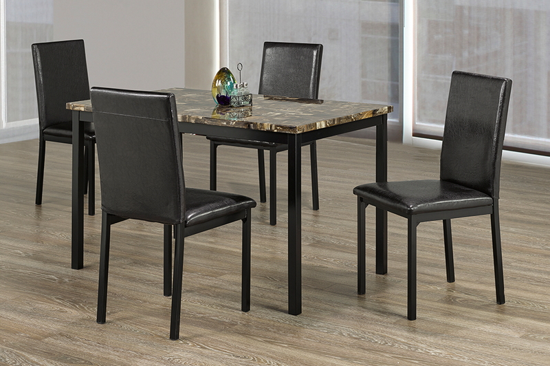 QFTT-T3200 | 5pc Faux Marble Top Dining Set