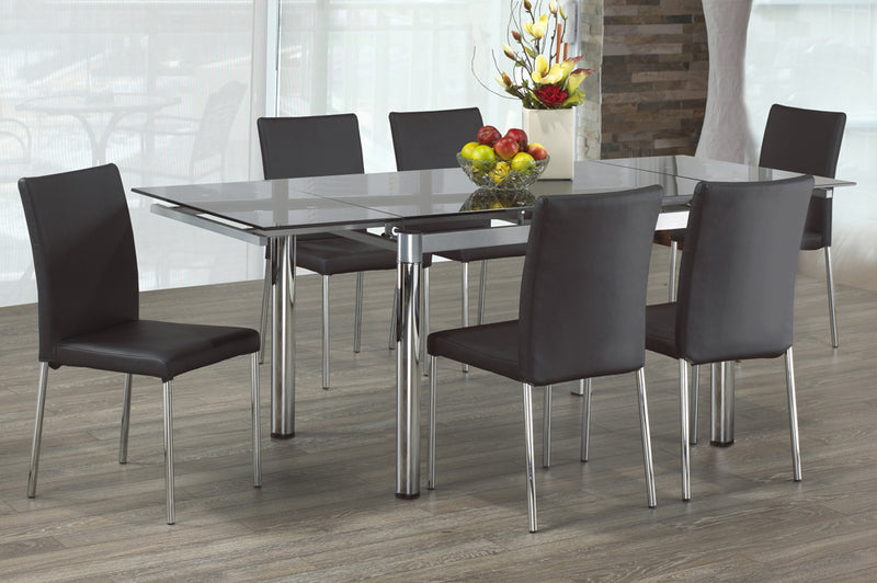 QFTT-T3402-3401 | Black Glass Top Dining Set