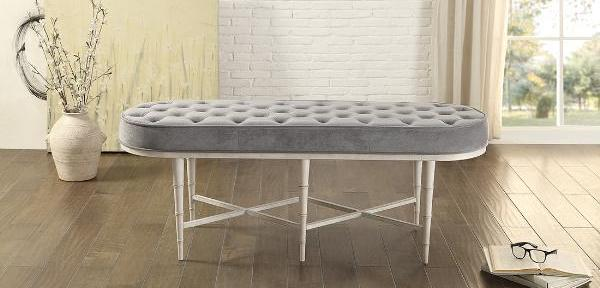 QFMZ-4502FA |  Tufted Grey Seat Bench