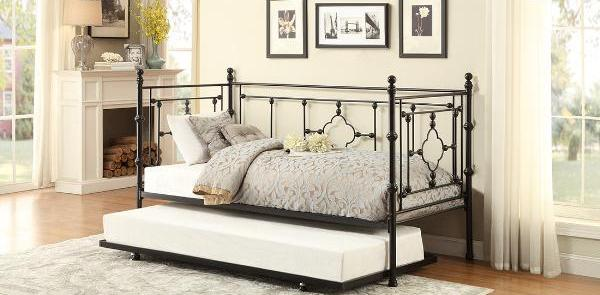 QFMZ-4968BK-NT | Auberon Metal Daybed with Trundle Bed
