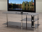 QFIF-5002 | Black Tempered Glass with Chrome TV Stand