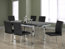 "TST-1505 TSC-5064 | 47""-71""L Black Tempered Glass Dining Set"