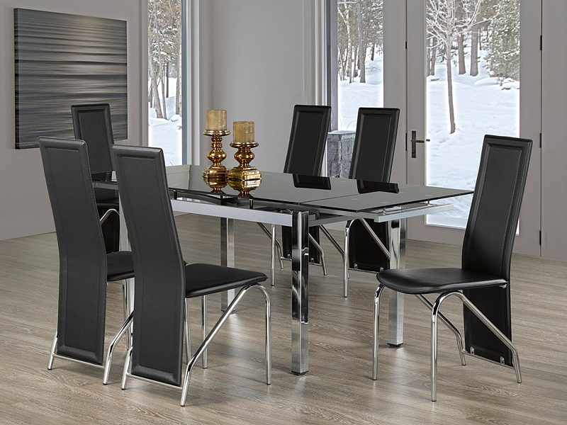 "TST-1505 TSC-5070 | 47""-71""L Black Tempered Glass Dining Set"
