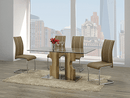 "TST-1450 TSC-1453 | 63""L Tempered Glass with Oak Dining Set"