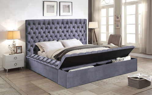 QFIF - 5790 Grey Velvet Fabric Bed with 3 Storage Benches Bed
