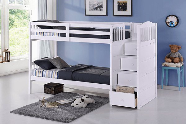 QFIF-5900 | White Bunk Bed w/ Extension Kit