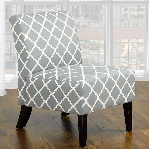 QFIF-6220 | Grey Quatrefoil Design Fabric Easy Chair