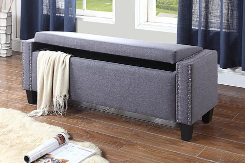 QFIF-6251 | Dark Grey With Nail Heads Bench