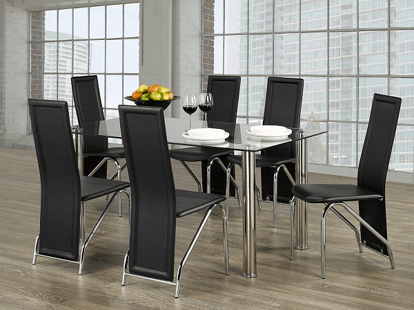 "TST-1465 TSC-5070 | 59""L Tempered Glass Dining Set"