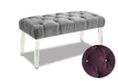 QFTT-R890/891 | Velvet-Style Fabric Bench w/ Button or Crystal