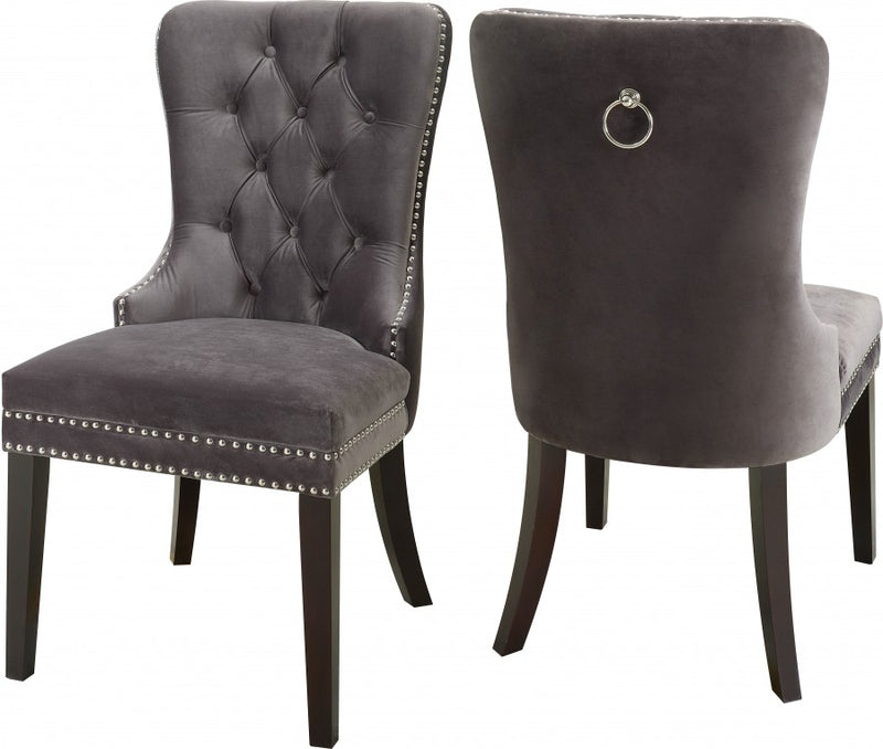 QFIF - 1220 | Grey Velvet with Nail Head Details Chair