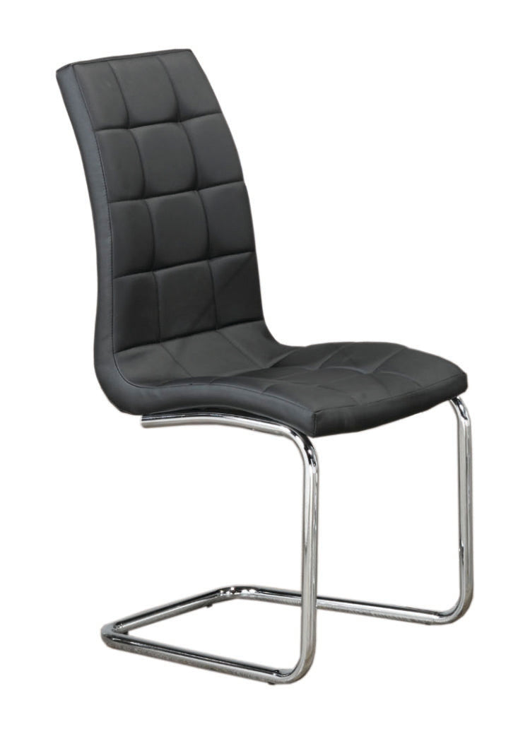 QFIF-1750 | Upholstered Black With Chrome Legs Chair